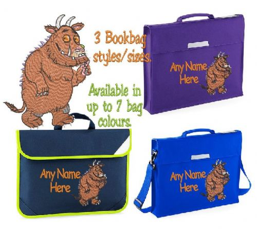 Gruffalo design Book bag - available in choice of sizes, colour and spec.  Personalised.